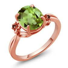 3.04 Ct Oval Green Peridot Red Garnet 18K Rose Gold Plated Silver Ring