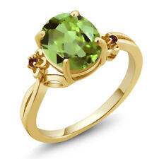 3.04 Ct Oval Green Peridot Red Garnet 14K Yellow Gold Ring