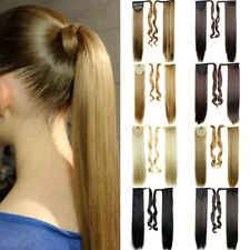 Clip in Horsetail Velcro Straight Synthetic Hair New Wigs Long