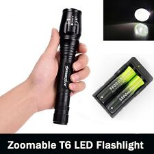 Zoomable Tactical 12000LM 5Mode XM-L T6 LED Flashlight Light 2*18650 Charger N