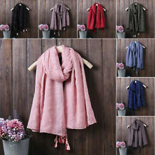 Women Lady Solid Color Long Beach Scarf Scarves Shawl Wrap Stole Cape Cotton New