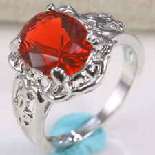 925 Silver Fashion Jewelry Ruby&Sapphire Women Wedding Gift Bridal Ring Size6-10