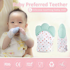 Baby Teething Mitten Silicone Mitt Glove Candy Teether Wrapper Sound Free Ship