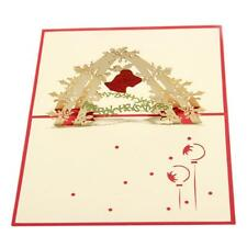 Christmas Jingle Bell 3D Pop Up Greeting Card Christmas Birthday New Year Gifts