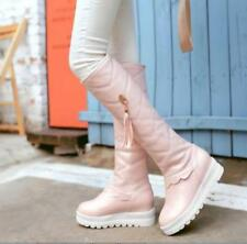 Womens Pu leather Slip On Casual Zipper Mid Calf Boots Fashion Casual Shoes