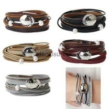 Leather Bracelet Wrap Punk Multilayer Bracelet Bangle Metal Stylish Women