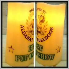 PERSONALISED PRIZE/TROPHY/ROSETTE/GOLD CUP ANY TEXT/IMAGE LED WAX PILLAR CANDLE