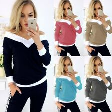 UK Womens V Neck Long Sleeve Tops Shirt Ladies Patchwork Blouse T-Shirt Pullover