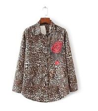 New Womens Leopard Embroidery Flower Just Cavalli Long Sleeve Blouse Shirt Tops