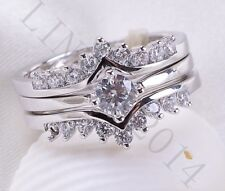 1ct White Topaz 925 Silver Woman Fashion Gift Wedding Engagement Ring Size 6-10