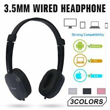 3.5mm Wired Headphone Over-ear Headset Hands-free with Mic for Phones PC USA