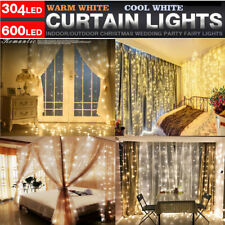 6*3M 600 LED Icicle String Fairy Lights Window Wall Curtain Christmas Decoration