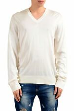 Dolce & Gabbana 100% Wool White V-Neck Knitted Men's Sweater Sz S M L XL