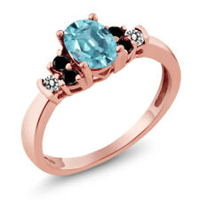 1.01 Ct Oval Blue Zircon Black Diamond 18K Rose Gold Plated Silver Ring