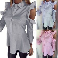 Women Off Shoulder Button Down Stripe Ruffle Long Sleeve Peplum Tops Blouse