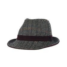 WITHMOONS Wool Houndstooth Pattern Fedora Hat Band Trilby LD6878
