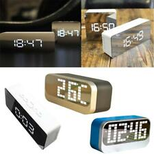 Mirror LED Alarm Clock Night Lights Thermometer Digital Tabletop Clock Lamp GIFT