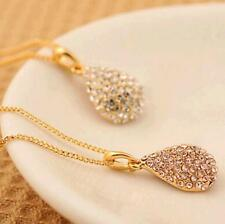 1Pcs Plated  Gold Plated Silver Teardrop Pendant Crystal Necklace Shiny Women