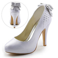 EP11034 Stiletto High Heel Platform Pumps Satin Rhinestone Wedding Party Shoes