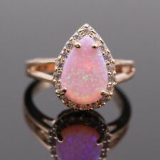 Pink Fire Opal 925 Silver Woman Engagement Wedding Proposal Gift Ring Size 6-10
