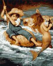 """Mermaid and Boy 16X20"""" Paint By Number DIY Acrylic kit Oil Painting Canvas 2000"""