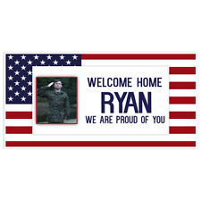 Welcome Home Custom Photo With Flag Military Banner Party Backdrop