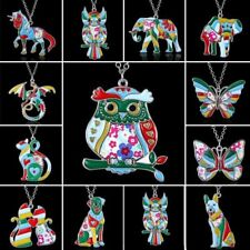 Silver Plated Printing Enamel Animal Dog Cat Elephant Butterfly Pendant Necklace