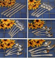 Wm Rogers & Son Silverplate SPRING FLOWER Choice Knives Forks Spoons FREE SHIP