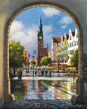 """16X20"""" Paint By Number Clock Tower Square DIY Acrylic kit Painting Canvas 1967"""