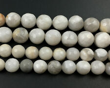 Natural Gemstone White Crazy Agate Faceted Beads Round Stone Beads 8mm 10mm 15''