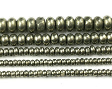Natural Pyrite Gemstone Beads Rondelle Spacer Beads 2x3mm 2.5x4mm 4x6mm 5x8mm