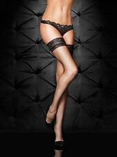 Ann Summers Lace Top Fishnet Hold Ups, Black, Sizes XS to XXL
