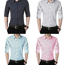 Long sleeves Men's Shirts plaid shirt 1Pcs Casual shirt Solid color