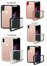 Transparent Shockproof Cover Hard Plastic Shell case with frame for iPhone 8 Hot