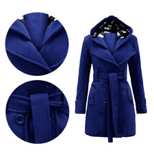 Coat Jacket Womens Belted Hooded Fleece Ladies Military Button