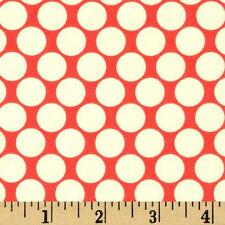 Full Moon Cherry - Lotus - Amy Butler - Red and White Polka Dot Quilting Fabric