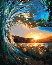 """Sea Waves Sunset 16X20"""" Paint By Number DIY Acrylic kit Painting Canvas 2356"""