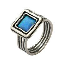 SHABLOOL 925 Sterling Silver Blue lab-created Opal Solitaire Ring
