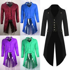 Men Steampunk Military Tailcoat Coat Long Jacket Gothic Party Business Parka Top