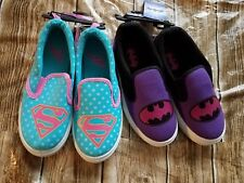 DC Comics Supergirl / Batgirl Girl's Canvas Slip On Shoes Casual Turquoise