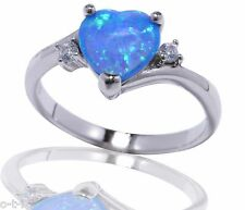 Large Heart Blue Fire Opal w/ CZ Love Fashion Genuine Sterling Silver Ring
