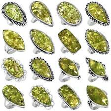 925 Sterling Silver Natural Mohave Peridot Gemstone Ring Size 5 6 7 8 9 10 11