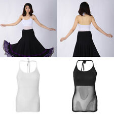 Women Belly Latin Dance Costume See-through Tops Halter Mesh Vest Dancewear