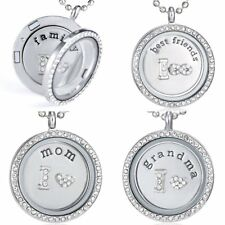 Grandma Family Living Memory Floating Charms Glass Round Locket Pendant Necklace