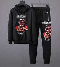 Embroidery Red Snake Men's Sweat Suits Sports Casual Jacket Hoodies Pants M-XL