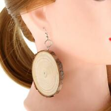 Large Statement Wood Wooden Earrings Round Dangle Drop Trendy Charms Jewelry