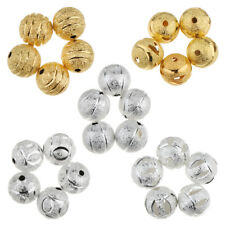 50Pcs 10mm Charms Flower Loose Round Ball Copper Brushed Spacer Beads Craft