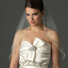 1 Tier White or  Ivory 90 cm Elbow Wedding Bridal rhinestone Edge Veil with comb