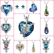 Crystal Owl Pendant Necklace Love Heart Fashion Jewelry For Her Women Gift