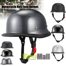M L XL Motorcycle Cruiser Half Face German Helmet Carbon Fiber Matte Black DOT